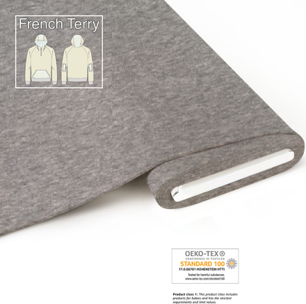 fabrilogy french terry coupon 905 melange light grey