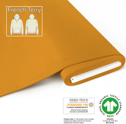 fabrilogy gots french terry coupon 260 mustard