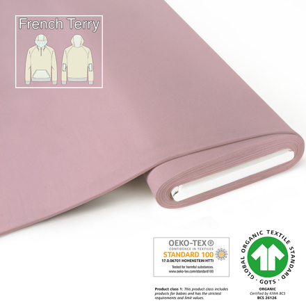 fabrilogy gots french terry coupon 490 light pink