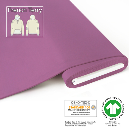 fabrilogy gots french terry coupon 580 rasberry