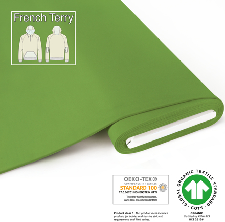 fabrilogy gots french terry coupon 730 frog green