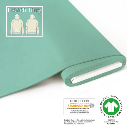 fabrilogy gots french terry coupon 785 light mint