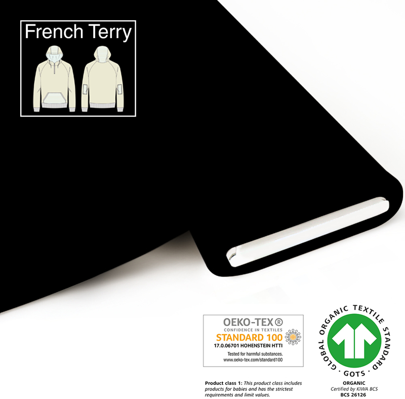 fabrilogy gots french terry coupon 050 black
