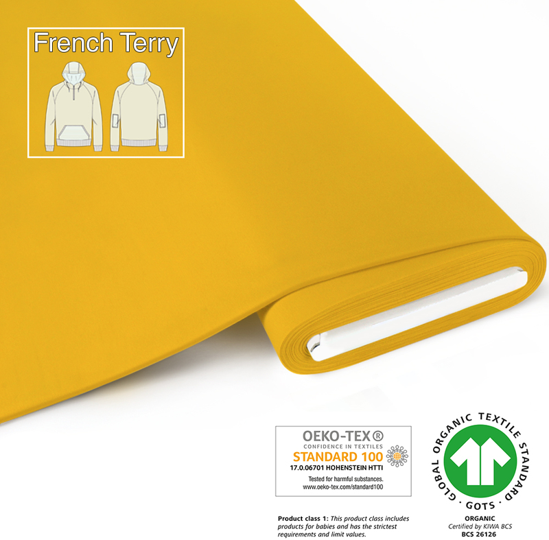 fabrilogy gots french terry coupon 200 yellow