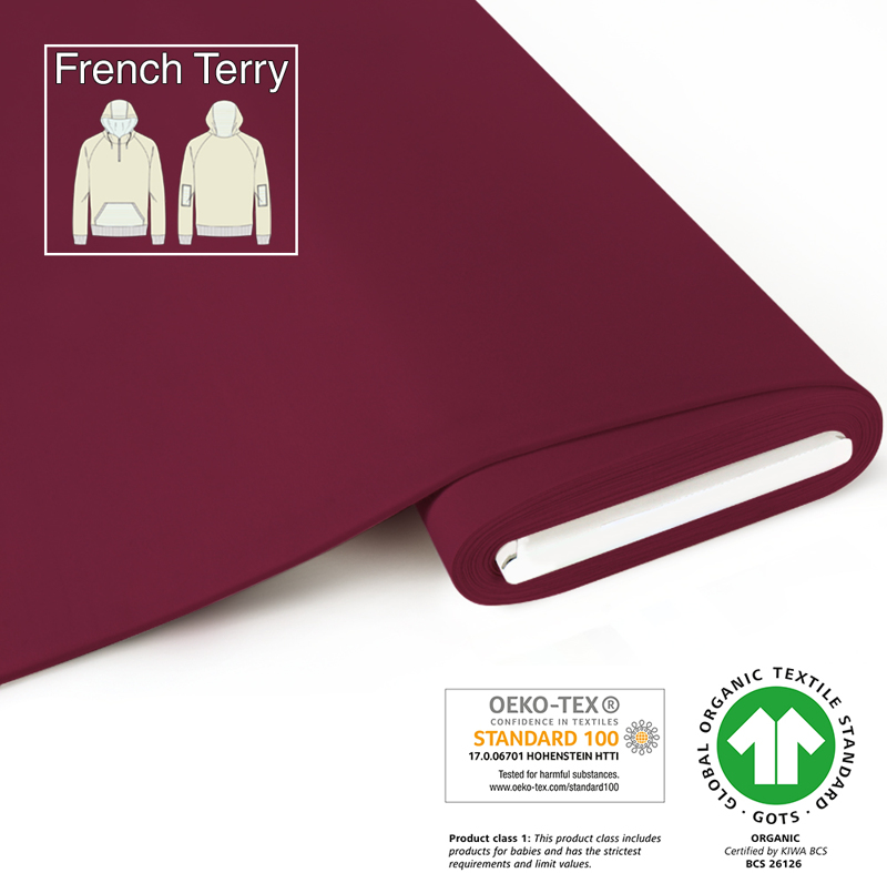 fabrilogy gots french terry coupon 410 bordeaux