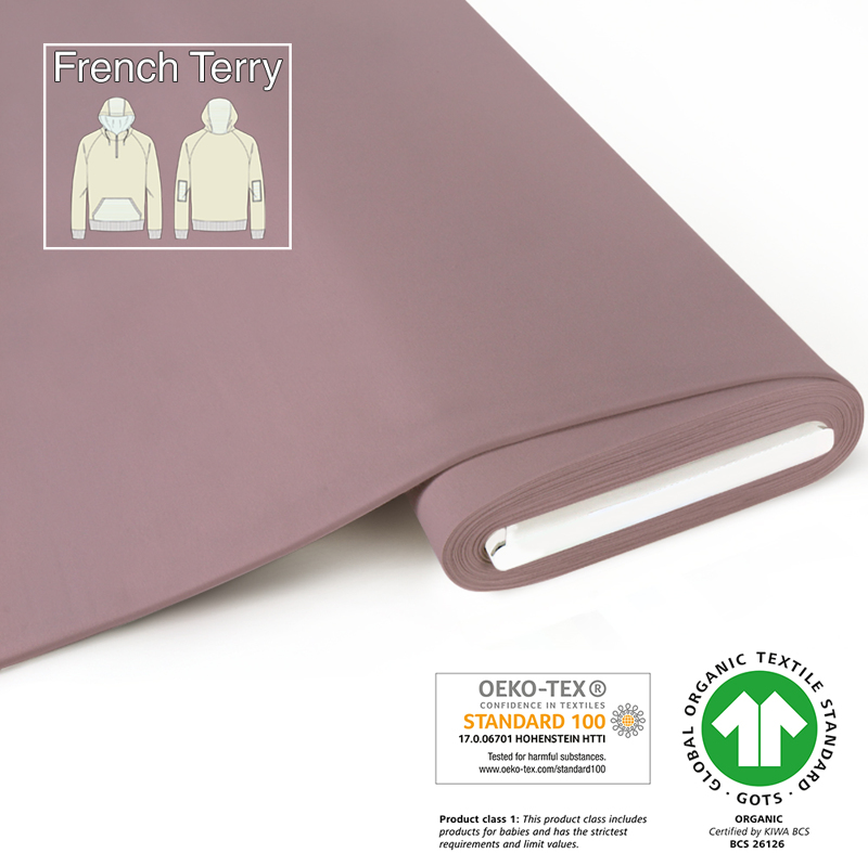 fabrilogy gots french terry coupon 470 antique pink