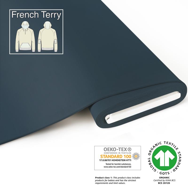 fabrilogy gots french terry coupon 610 indigo