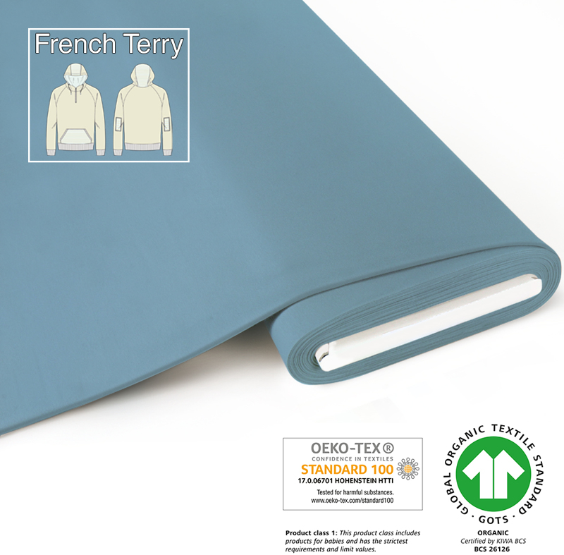 fabrilogy gots french terry coupon 630 sky blue