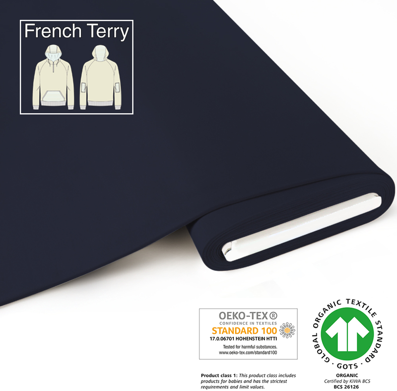 fabrilogy gots french terry coupon 695 navy