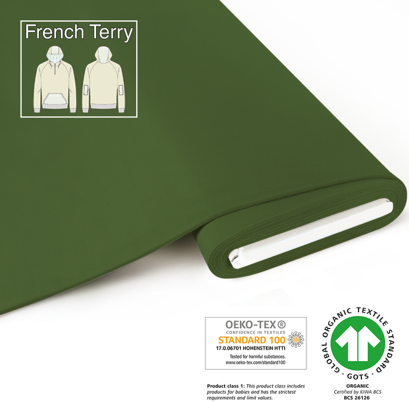 fabrilogy gots french terry coupon 700 dark green