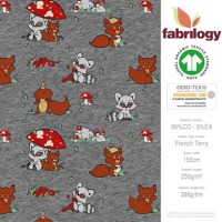 Forest animals - GOTS certified - grey (melange-optic)