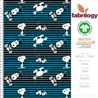 Snoopy stripes - GOTS certified - turquoise