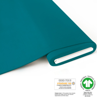 French Terry brushed uni - GOTS certified - light petrol blu
